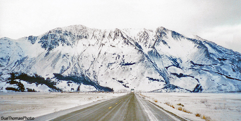 Approaching Sheep Mountain and the Slims River bridge at Kluane Lake, Yukon