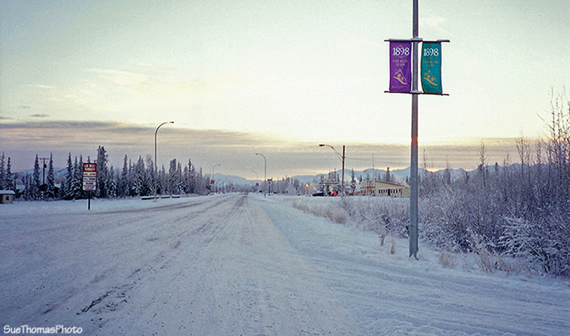 Winter on the Alaska highway in Beaver Creek, Yukon