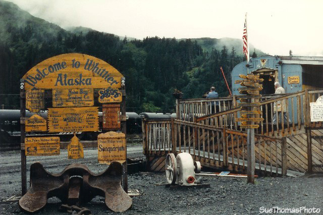 Welcome to Whittier, Alaska -- sign