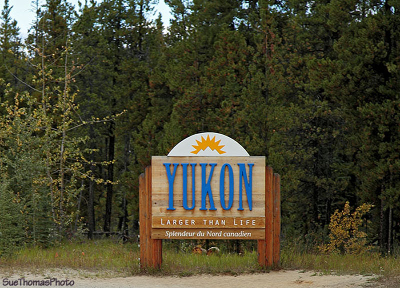 Yukon Sign near Watson Lake, Yukon on Alaska Highway