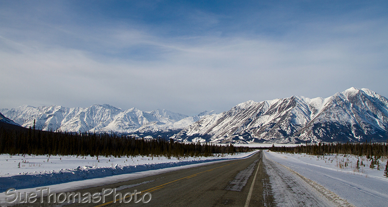 Alaska Highway in winter, Kluane Lake, Yukon