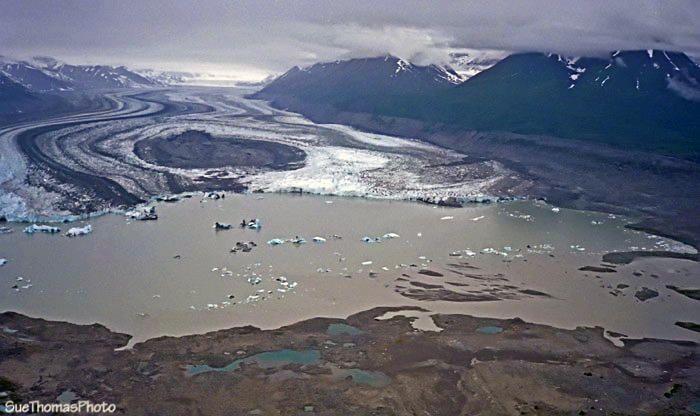 Lowell Glacier and Lowell Lake, Alsek River