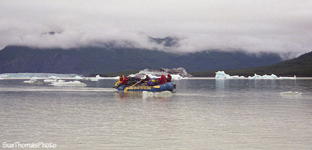 Rafting through Alsek Lake