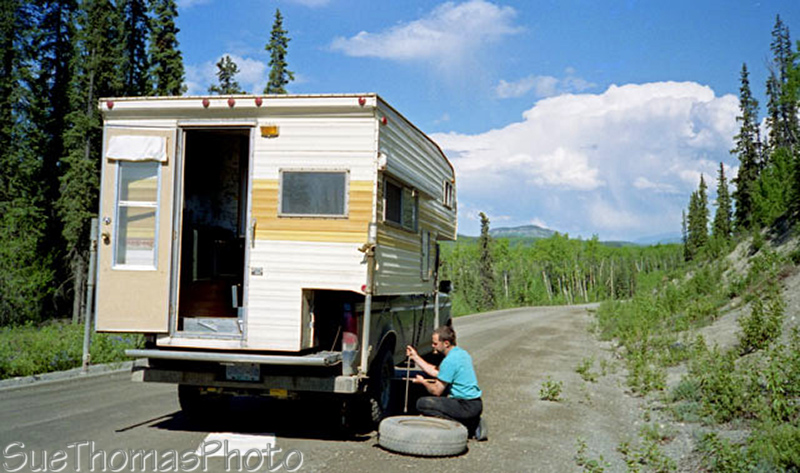 Flat tire on Campbell Highway, Yukon