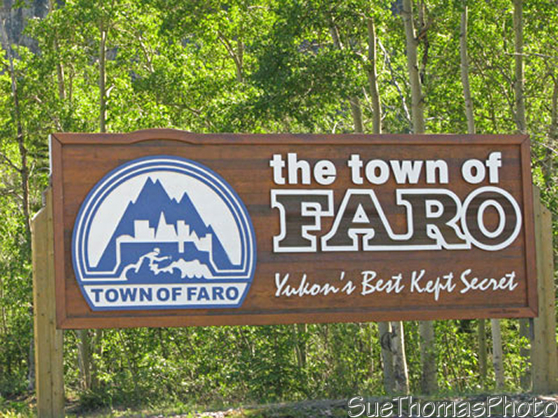 The town of Faro sign on Campbell Highway, Yukon