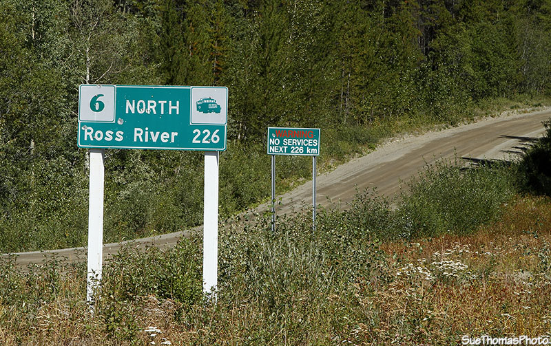 Signs at the start of the South Canol Road