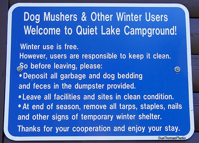 Sign for dog mushers at Quiet Lake campground, South Canol