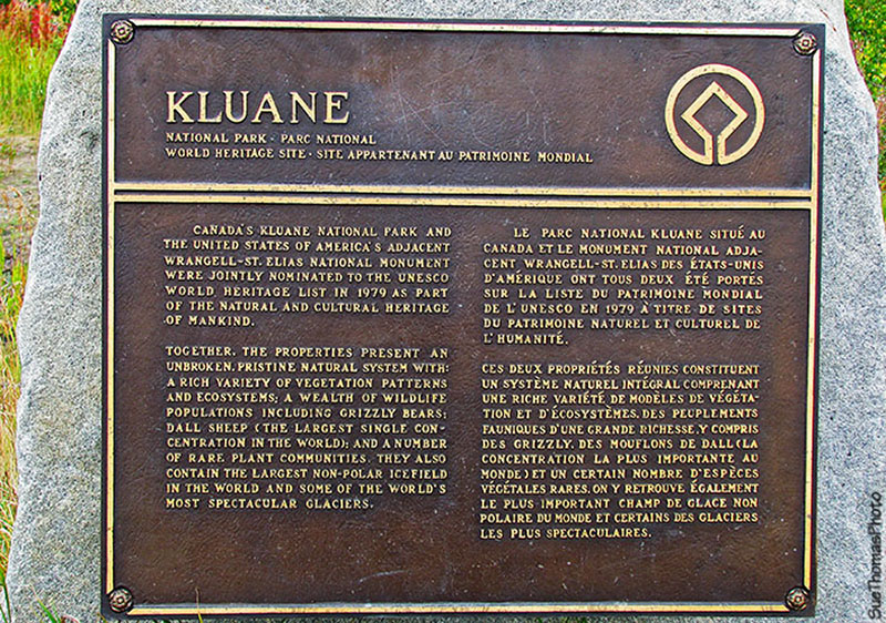 Monument for Kluane National Park on Haines Road in Yukon