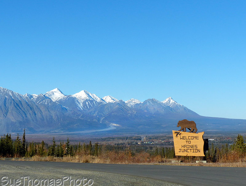 Haines Highway rest area with Haines Junction sign